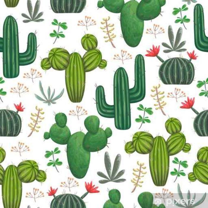 Papier Peint Motif Sans Couture Avec Cactus Succulents Et éléments