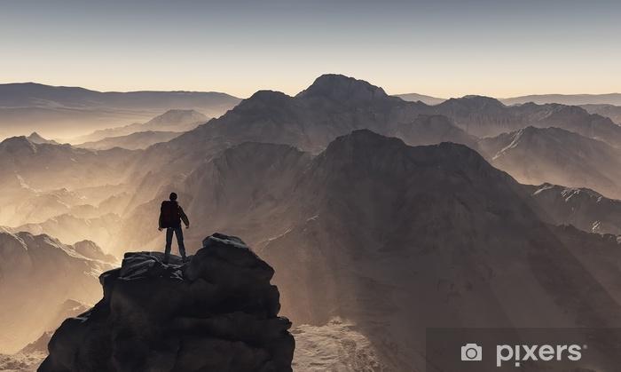 Vinilo Pixerstick Joven arriba de la montaña - Gente