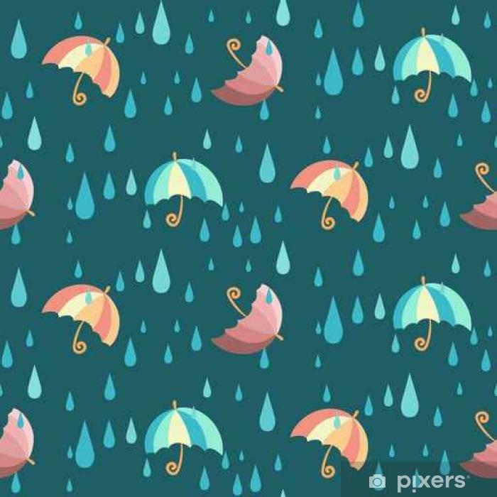 Sticker Pixerstick Motif de vecteur sans couture avec des parapluies rayés de dessin animé coloré et des gouttes d'eau tombantes, sur fond sombre - Animeaux