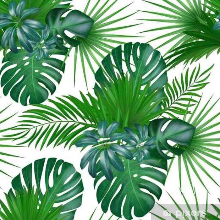 Carta da Parati in Vinile Modello di vettore esotico botanico realistico disegnato a mano senza cuciture con foglie di palma verde isolato su sfondo bianco. - Risorse Grafiche