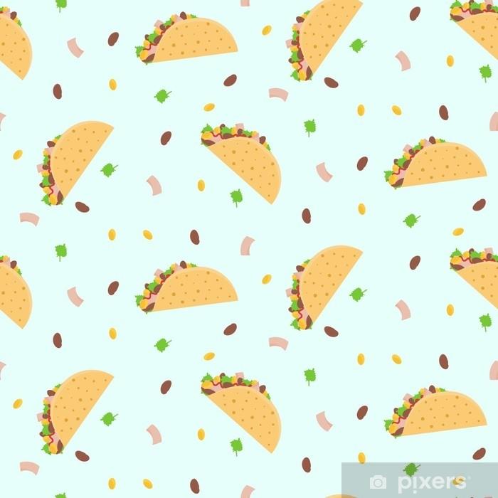 Fototapeta winylowa Kreskówka kolorowy wzór z meksykańskimi tacos, kukurydza, sałata i fasola nerek. ładny wzór fastfood dla papieru do pakowania tekstyliów, kawiarni i restauracji, okładki, banery, tła, tapety - Jedzenie