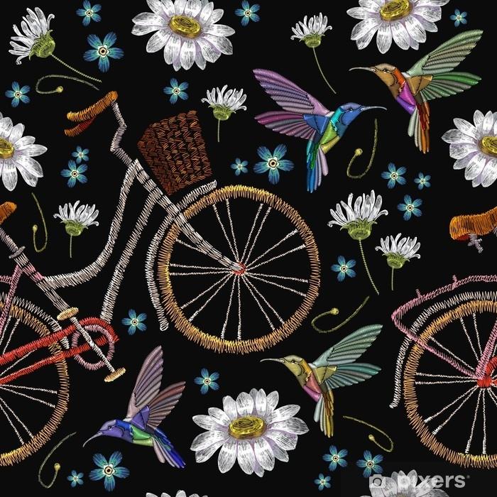 Naklejka Haft Rowerowy Camomiles Kwiaty I Szumiace Wzor Ptakow