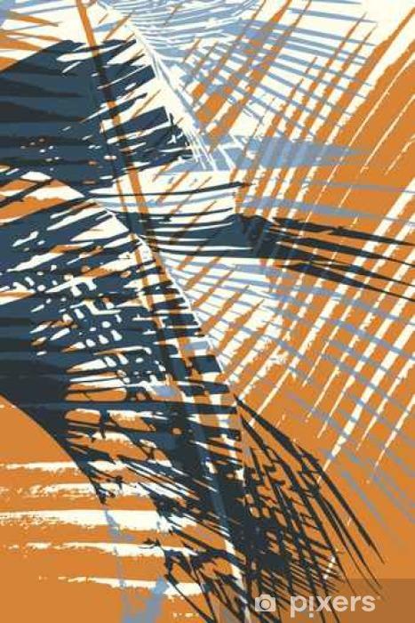 Naklejka Pixerstick Streszczenie grunge wektora tle. Skład sylwetki koloru nakładających się liści palmowych. - Zasoby graficzne