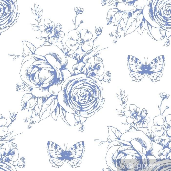 Naklejka na biurko i stół Bezszwowy piękny wzór z kwiecistymi motywami i motylami w francuskim stylu 1 - Zasoby graficzne