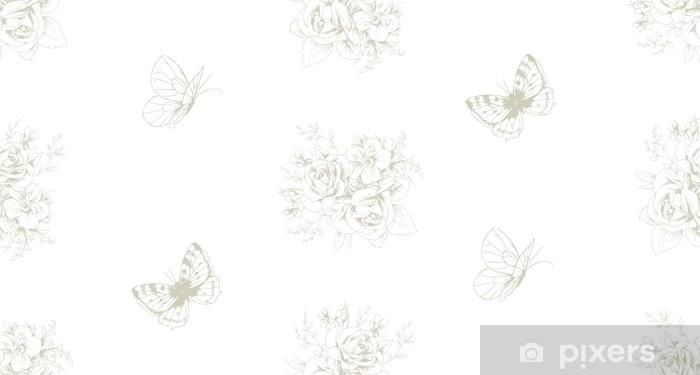 Naklejka na drzwi Bezszwowy piękny wzór z kwiecistymi motywami i motylami w francuskim stylu 3 - Zasoby graficzne