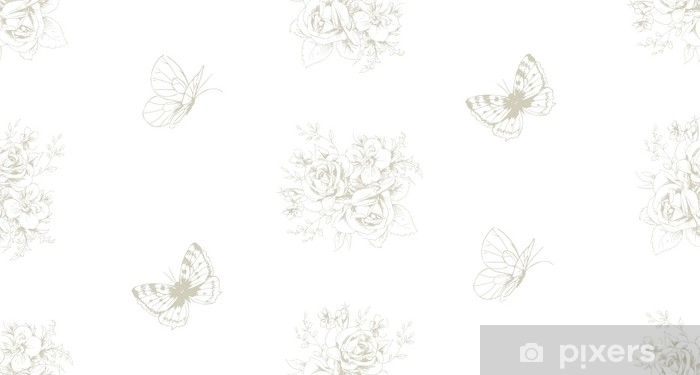 Seamless beautiful pattern with floral motivies and butterflies in French style 3 Vinyl Wall Mural - Graphic Resources