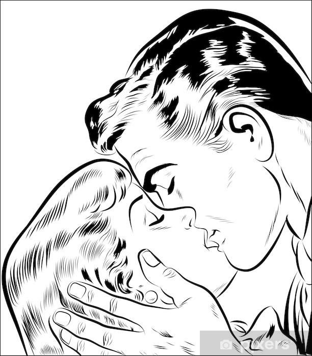 Papier peint vinyle Deux amoureux Qui s'embrasse -