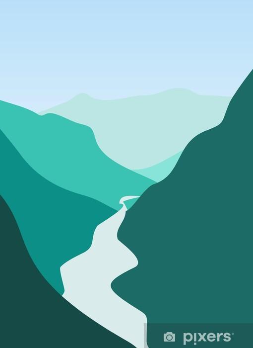 Sticker Pixerstick Montagne et rivière - Montagne