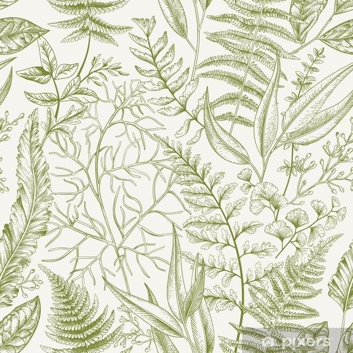 Vinyl-Fototapete Nahtlose Muster mit Blättern. - Grafische Elemente