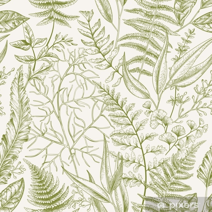 Fototapet av Vinyl Sömlöst mönster med löv. - Grafiska resurser
