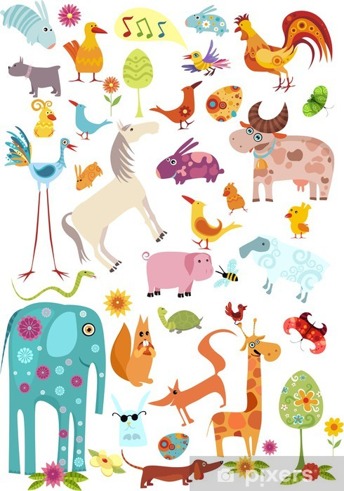 Sticker Pixerstick Grands animaux fixés -