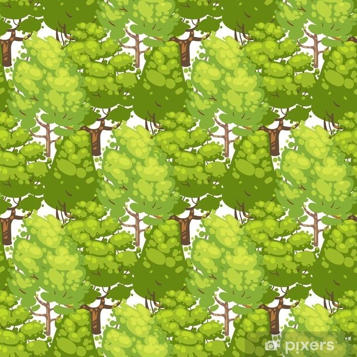Papier peint vinyle Modèle sans couture de forêt - vert eco texture avec des arbres - Plantes et fleurs