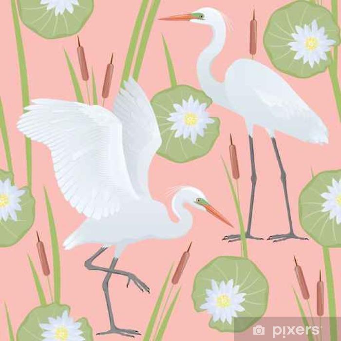Vinyl Fotobehang Kleur vector naadloos patroon met gedetailleerde tekening van twee Grote Egrets, geïsoleerd op de achtergrond van geometrische ornamenten, rieten en bloemen en bladeren van een waterlelie. - Graphic Resources