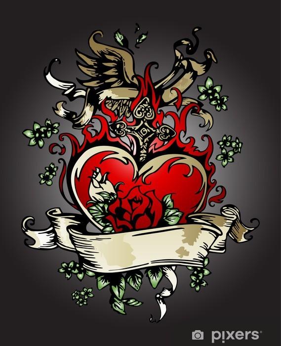 fototapete goldene rose herz mit flügel tattooemblem