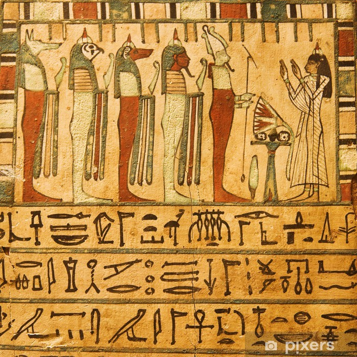 Mural de Parede em Vinil Ancient Egyptian gods and hieroglyphics painted on stone - iStaging