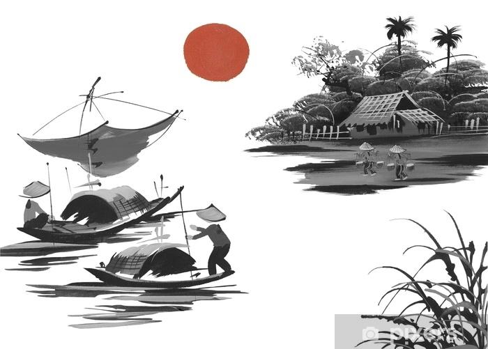Papier peint vinyle Paysage avec collines, soleil, lac et pêcheur dans le style japonais sumi-e traditionnel sur fond aquarelle vintage. Vietnam, Chine - Paysages
