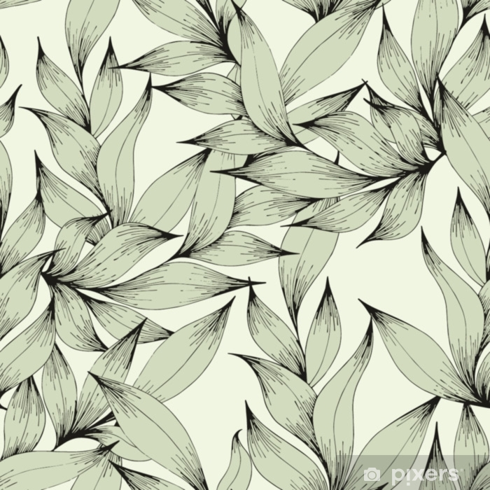 Poduszka dekoracyjna Wektor wzór z gałęzi i liści. rysunek odręczny. dekoracyjny wzór dla projektu - Rośliny i kwiaty