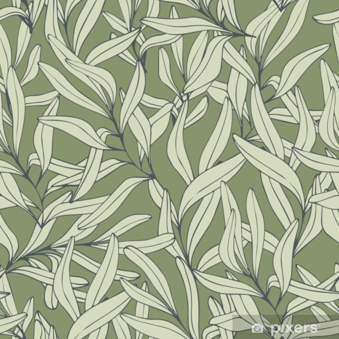 Branches. Hand drawing. Vector seamless pattern Self-Adhesive Wall Mural - Plants and Flowers