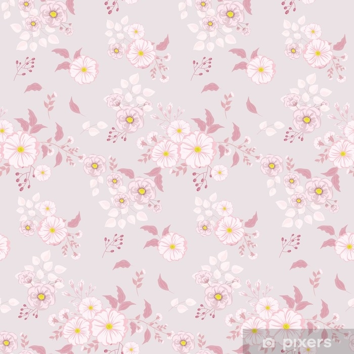 Seamless floral pattern. Background in small pink flowers on a light background for textiles, fabric, cotton fabric, covers, wallpaper, print, gift wrap, postcard. Vinyl Wall Mural - Plants and Flowers