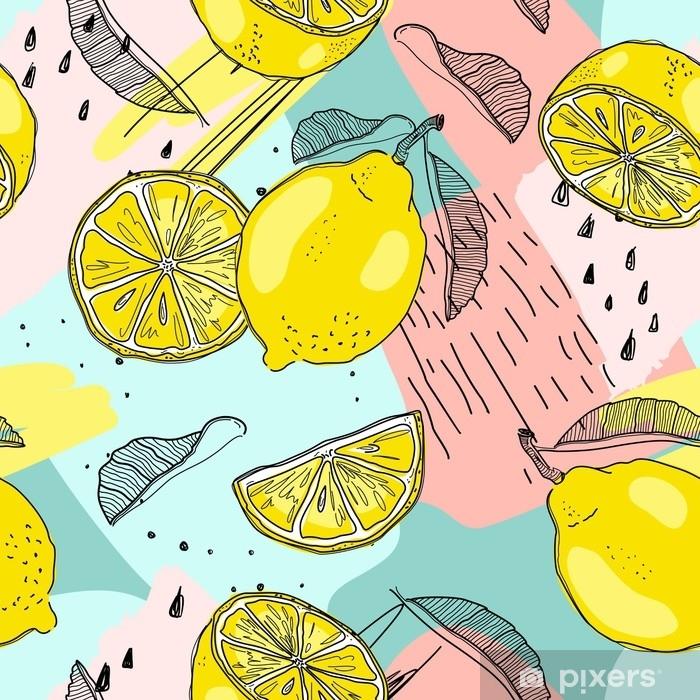 Fototapeta Citron Bezproblemove Vzorek Rucne Kreslene Ovoce