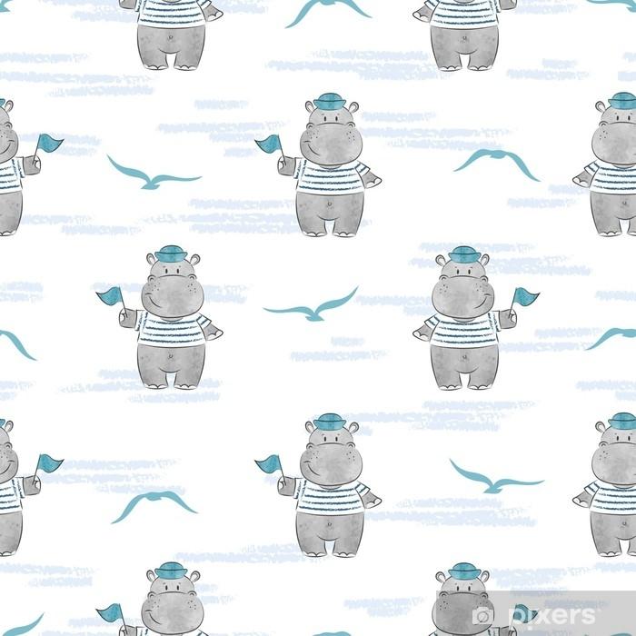 Fotomural Autoadhesivo Patrones sin fisuras con marinero hipopótamo. Fondo de vector marino para el diseño de los niños. - Animales