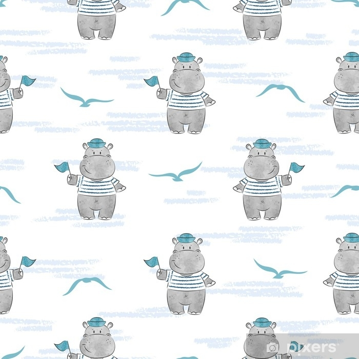 Seamless pattern with Hippo Sailor. Marine vector background for kids design. Self-Adhesive Wall Mural - Animals
