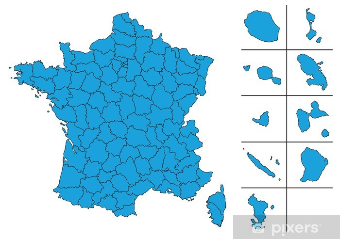 carte des dom tom Carte de France vectoriel avec Départements et le DOM TOM Wall