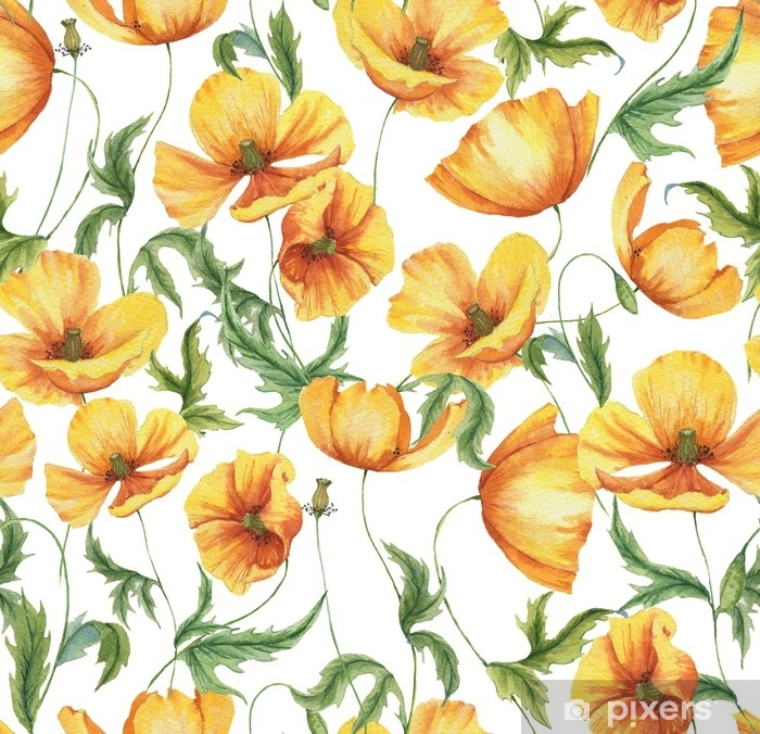 Hand Drawn Watercolor Floral Seamless Pattern With The Yellow Poppy Flowers On The White Background In Vintage Style Natural And Vibrant Repeated