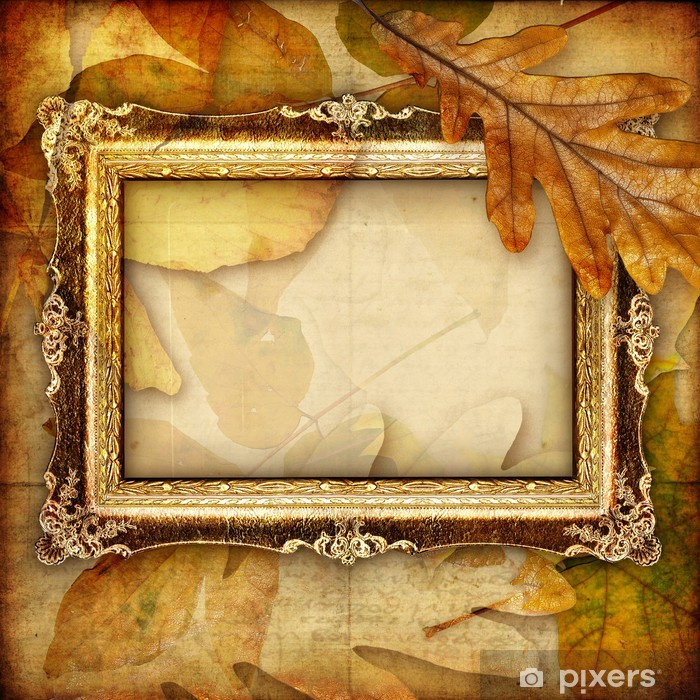 autumn composition with antique frame Vinyl Wall Mural - Seasons
