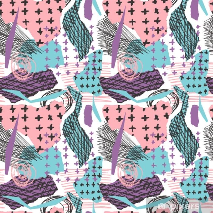 d0035eb377 Carta da Parati in Vinile Vector seamless colorato con tratti di pennello e  croce. colore nero viola blu rosa su sfondo bianco. texture grange dipinte  ...