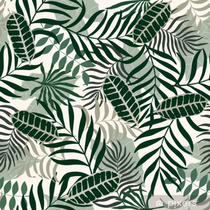 Tropical background with palm leaves. Seamless floral pattern Pixerstick Sticker - Plants and Flowers