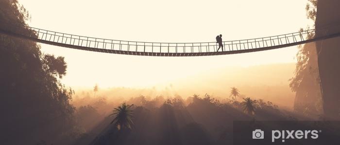 Fototapeta samoprzylepna Lina mężczyzna przechodzi przez most - Ludzie