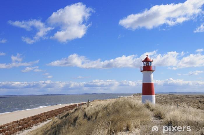 Fototapet av Vinyl Fyr fyr beacon Sylt sanddyner Danmark - Fyr