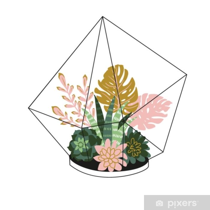 Örngott Handdragen innehöll tropiska hus växter. skandinavisk stil illustration, modern och elegant heminredning. vektor print design med terrarium med tropiska växter. - Växter & blommor