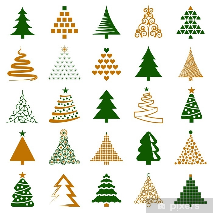 Christmas Tree Illustration.Christmas Tree Icon Collection Vector Illustration Wall Mural Vinyl
