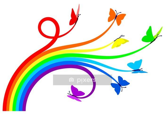 Sticker mural Papillons arc-en- - Sticker mural
