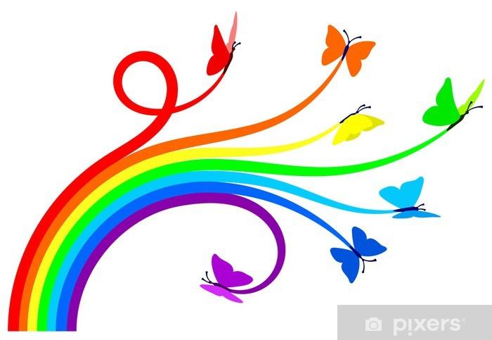 Carta da Parati in Vinile Arcobaleno farfalle - Adesivo da parete