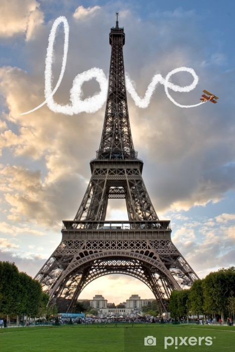 Love in Paris Eiffel Tower France Concept - Me and You Vinyl Wall Mural - Themes