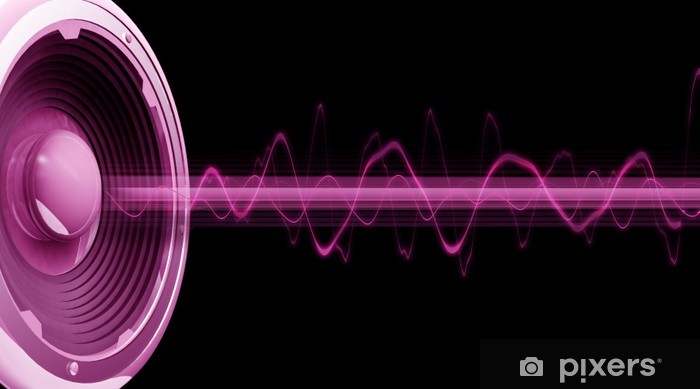 Sticker Pixerstick Flyer audio spectre rose noir fond - Hip hop