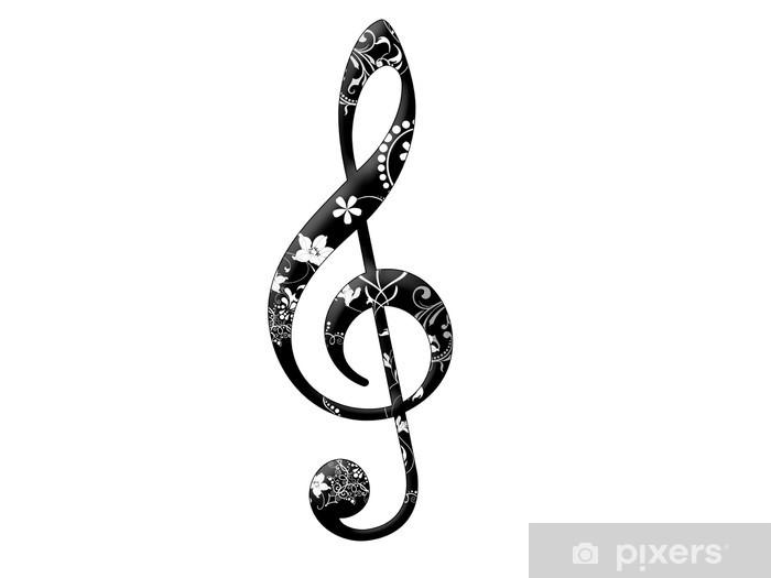 Sticker Pixerstick Clef noir avec motif floral - Signes et symboles