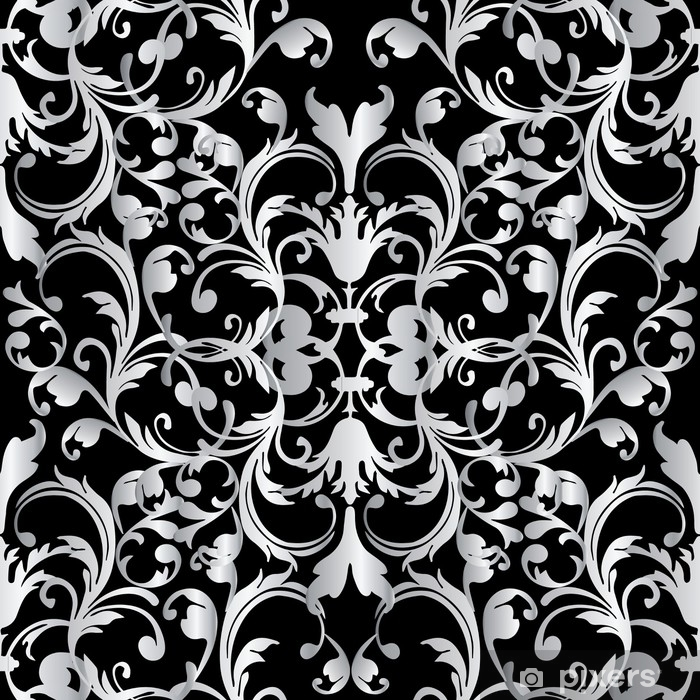 Baroque Seamless Pattern Fl Damask Black Background Wallpaper Ilration With Vintage White Flowers Scroll Leaves And Antique