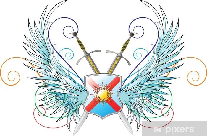 Vinilo Pixerstick Emblemas de vectores. Alas, el escudo y espadas ...