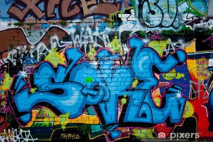 Naklejka Pixerstick Graffiti na teksturą szczegółów mur - Tematy