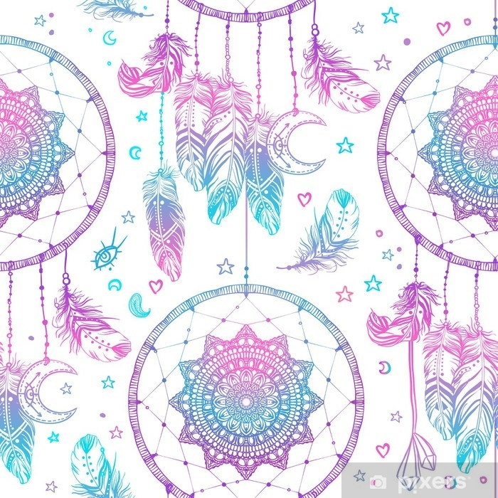 Hand drawn Native American Indian talisman dreamcatcher with feathers and moon. Seamless pattern. Vector hipster illustration. Ethnic design, boho chic, tribal symbol. Vinyl Wall Mural - Graphic Resources