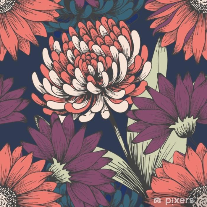 Autocolante Pixerstick Flores no jardim da noite. desenho à mão. teste padrão floral elegante - Plantas e Flores