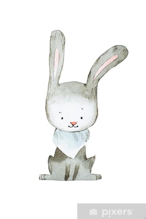 Sticker Aquarel konijn of haas hand getekend met aquarel techniek Pixerstick