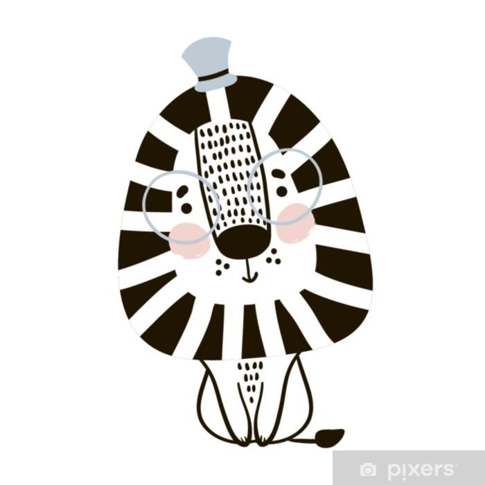 Scandinavische Kinderkleding.Fotobehang Schattige Cartoon Leeuw In Scandinavische Stijl