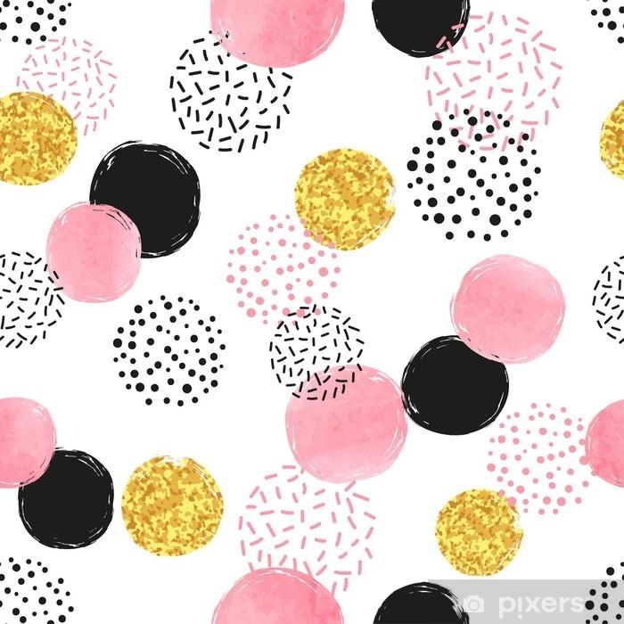 Fototapeta samoprzylepna Bez szwu przerywaną wzór z koła różowy, czarny i złoty. wektor abstrakcyjne tło z okrągłymi kształtami. - Zasoby graficzne