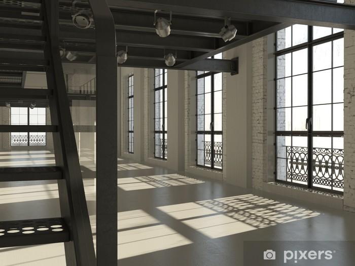Fotobehang witte minimalistische loft interieur d render