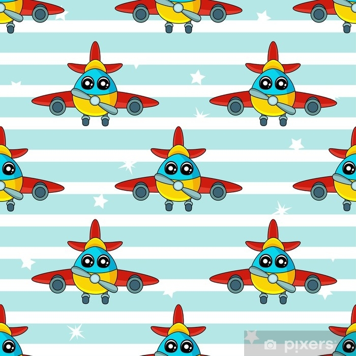 Cute Kids Pattern For Girls And Boys Colorful Aircraft On The Abstract Bright Background Create A Fun Cartoon Drawing The Background Is Made In Blue Colors Urban Backdrop For Textile And Fabric Wall Mural